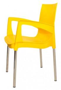 Желтый пластиковый стул (кресло) Рикко для кафе