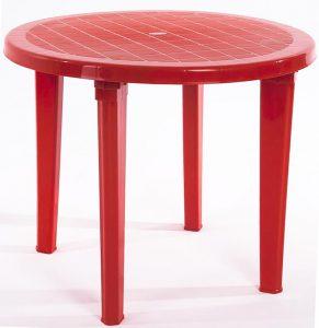 красный пластиковый стол